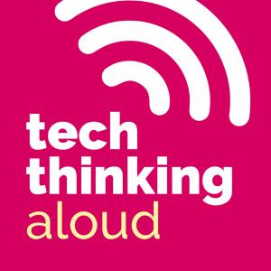 tech thinking aloud pink and white logo